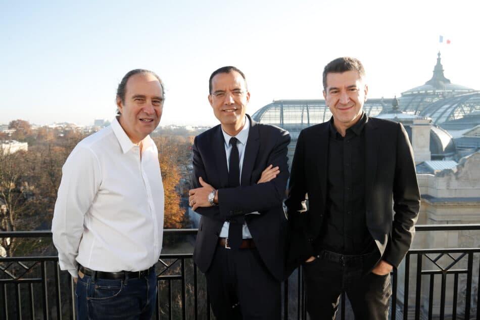 Interview de Xavier Niel, Matthieu Pigasse et Moez-Alexandre Zouari dans les locaux de la Deutsche Bank à Paris le 28/11/2020 Photo Jean-Christophe Marmara / Le Figaro
