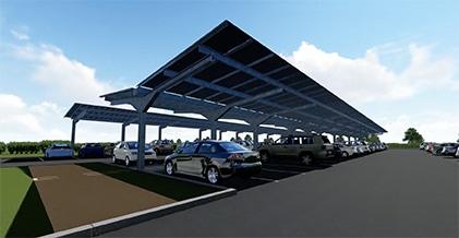 Les ombrières solaires de Developp'sun permettent d'importantes économies d'energie.
